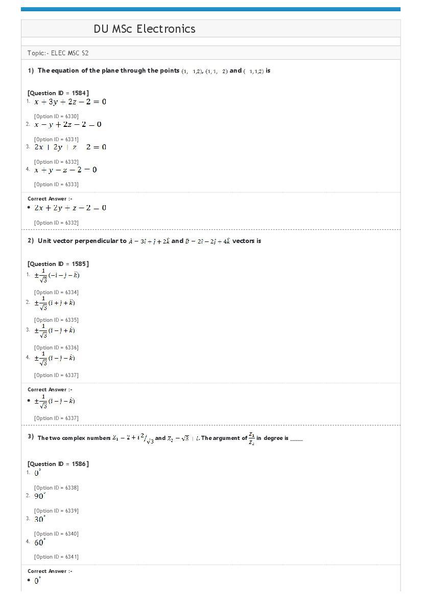 DUET Question Paper 2020 for DU MSc Electronics - Page 1