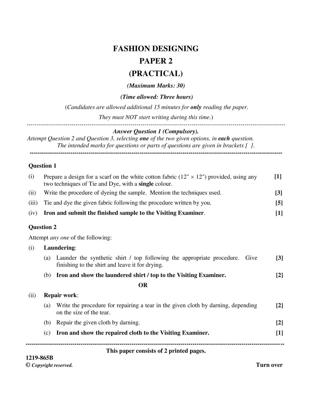 ISC Class 12 Question Paper 2019 for Fashion Design Paper 2 - Page 1