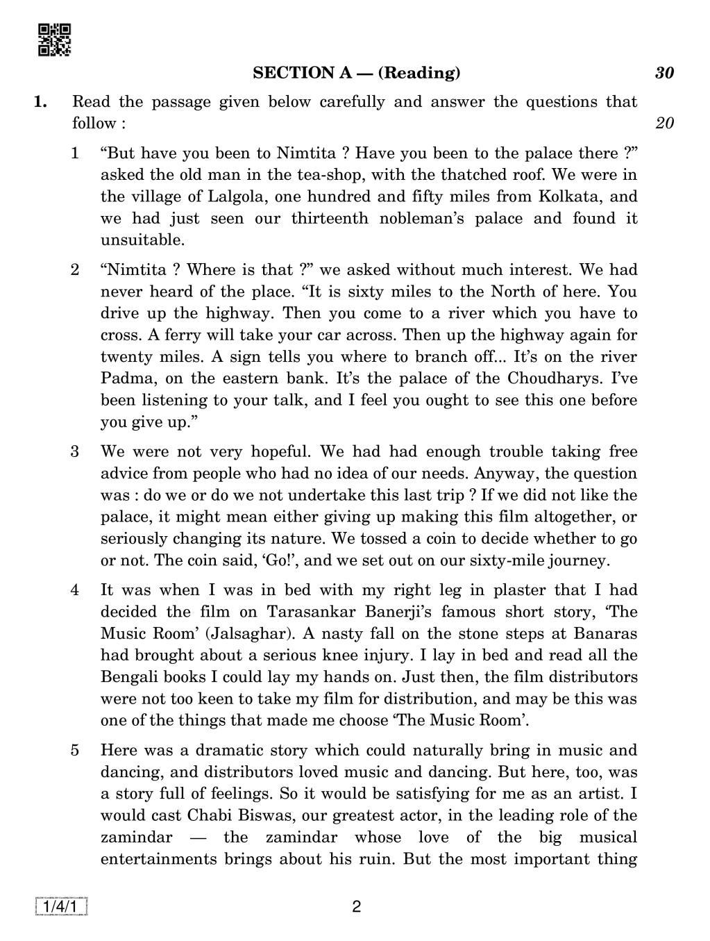 CBSE Class 12 English Core Question Paper 2019 Set 4