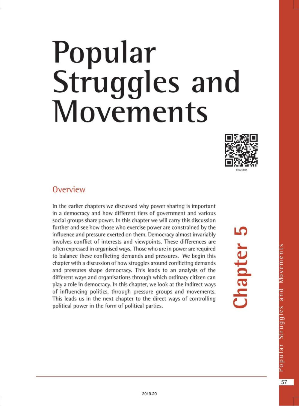 NCERT Book Class 10 Social Science (Civics) Chapter 5 Popular Struggles and Movements - Page 1