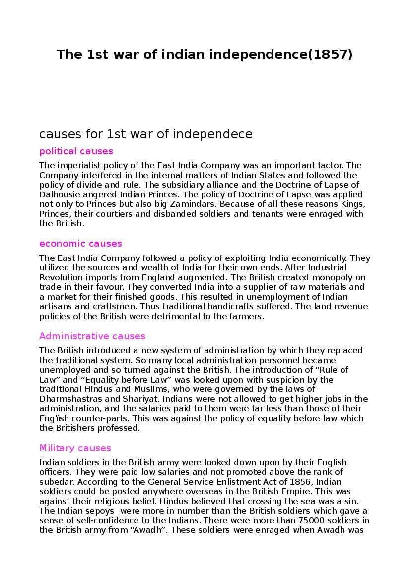 Teaching Material Class 7, Class 8, Class 9, Class 10 History First War of Independence - Text - Page 1