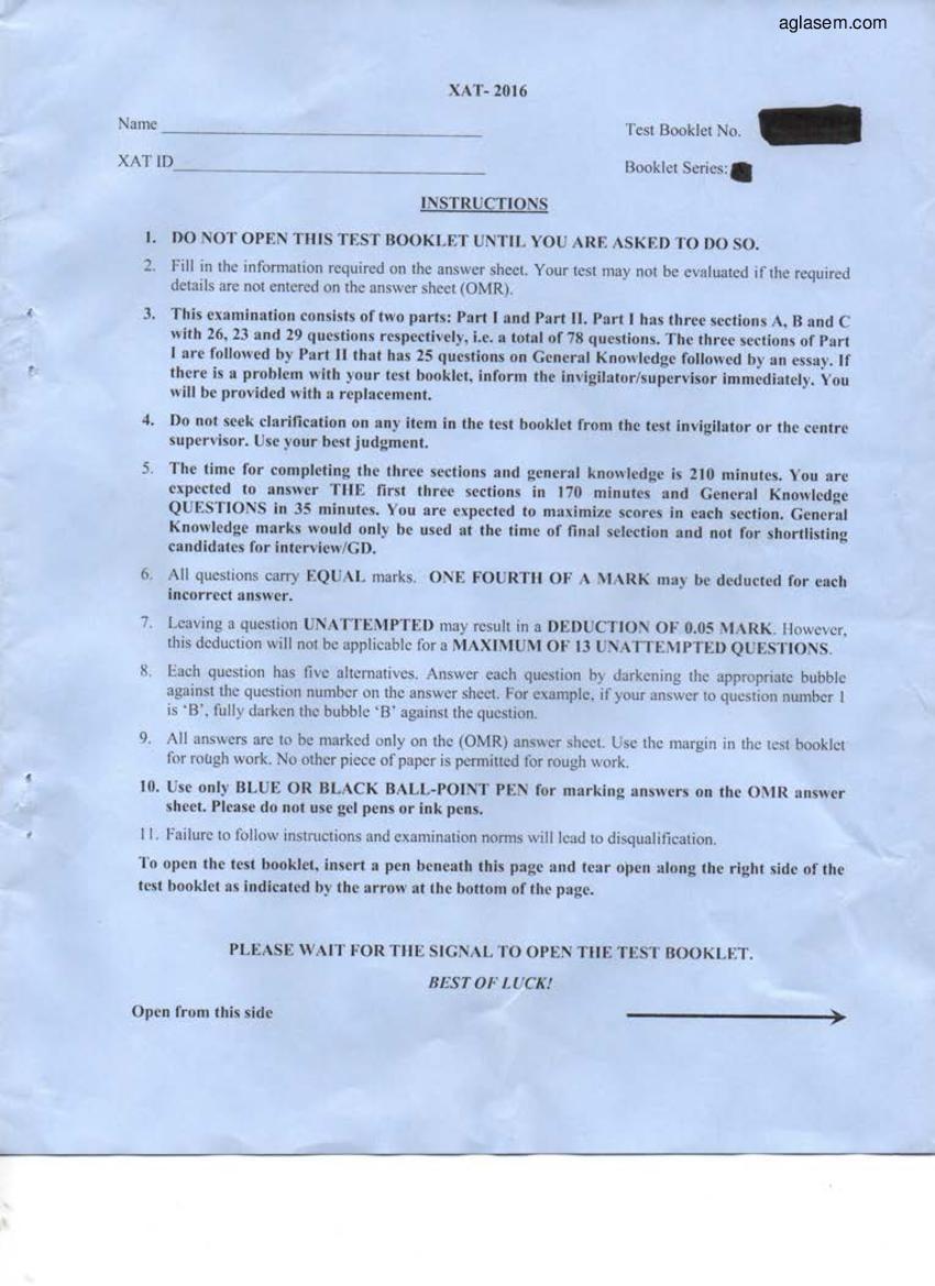 XLRI XAT Question Paper 2016 - Page 1