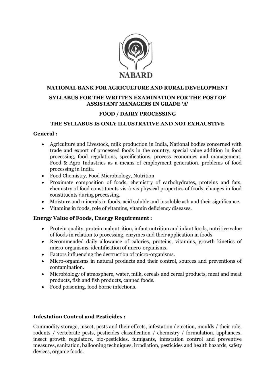 NABARD Grade A Syllabus 2020 Food Dairy Processing - Page 1