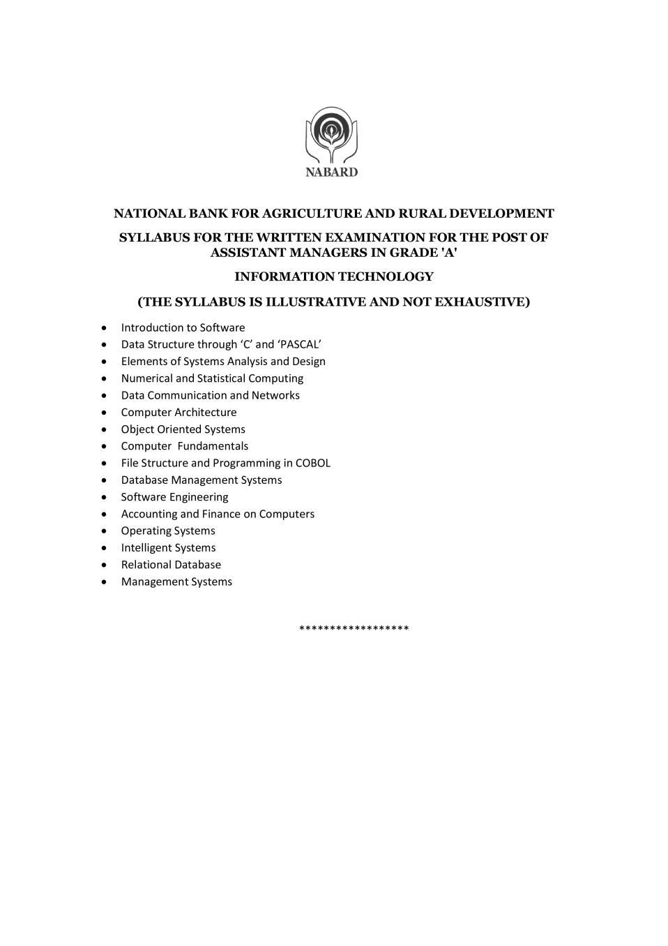 NABARD Grade A Syllabus 2020 Information Technology - Page 1