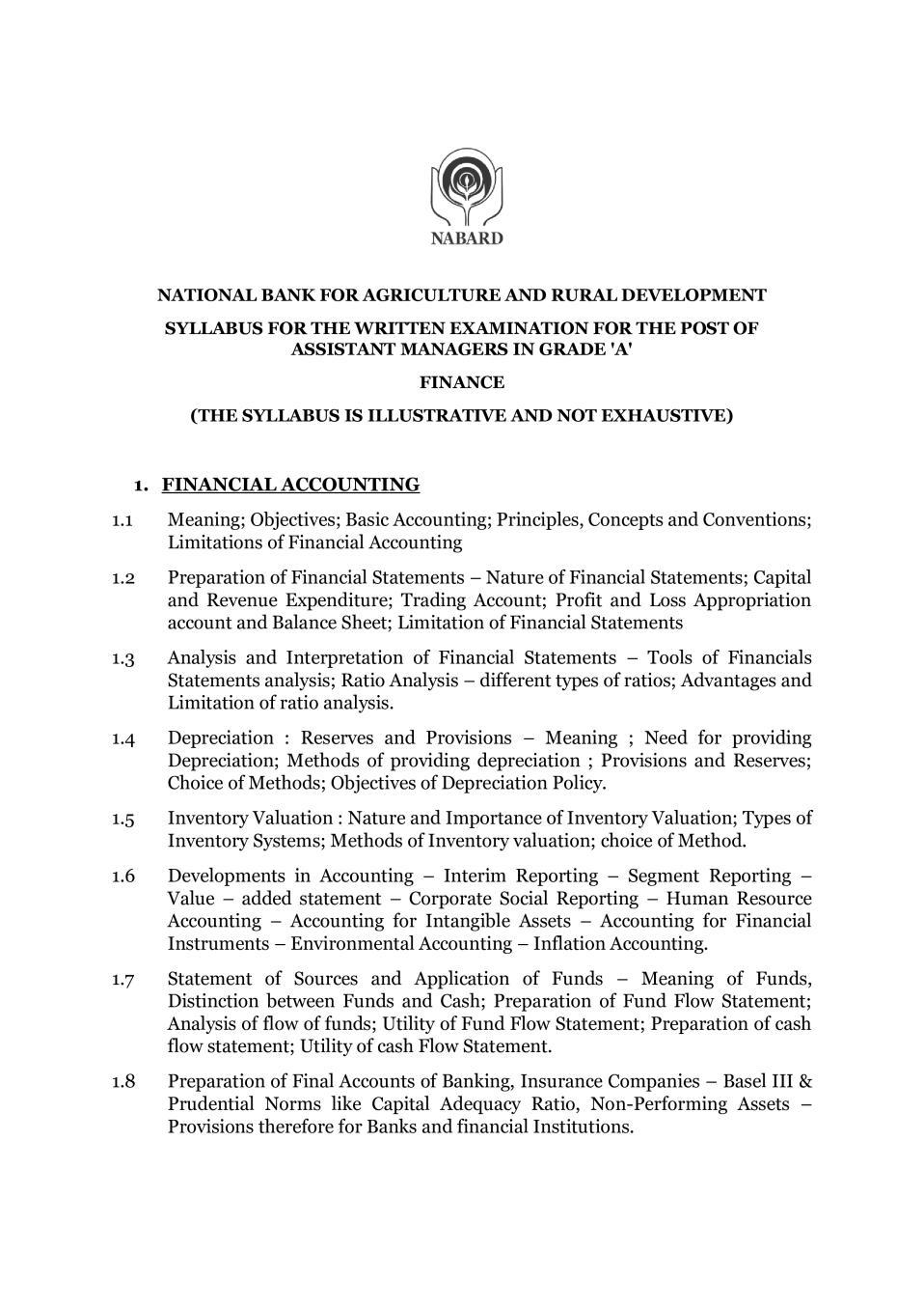 NABARD Grade A Syllabus 2020 Finance - Page 1