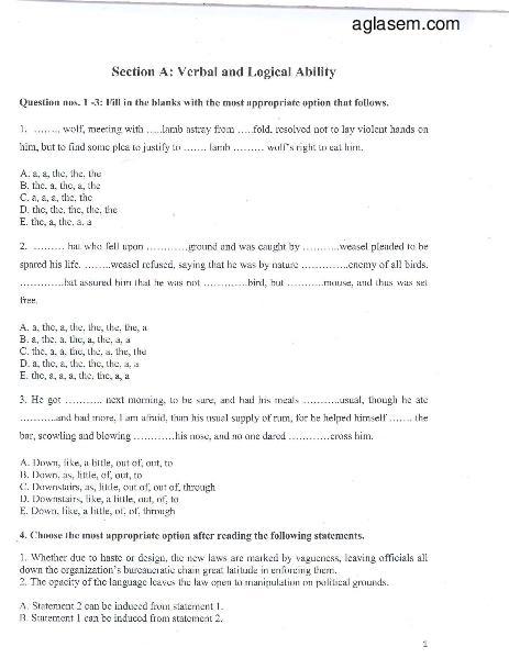XLRI XAT Question Paper 2013 - Page 1