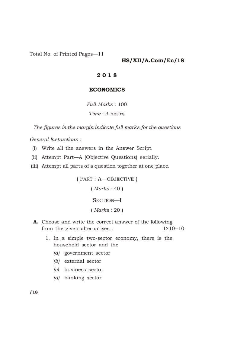 MBOSE Class 12 Question Paper 2018 for Economics - Page 1