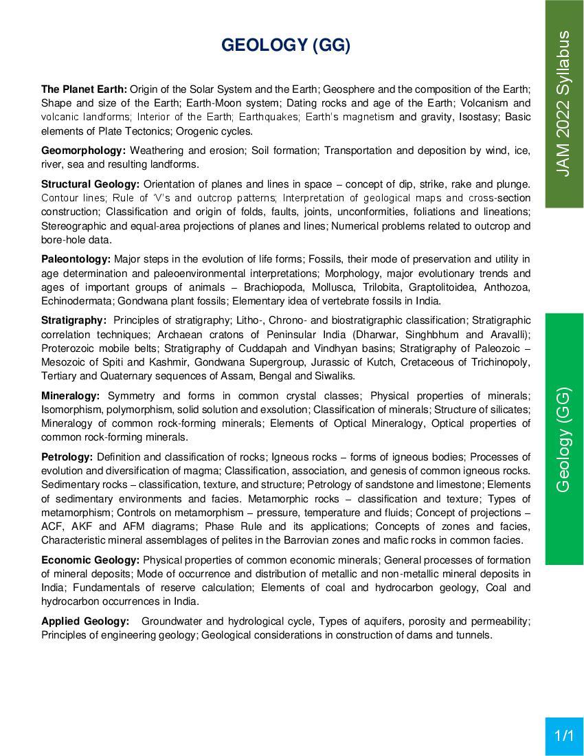 JAM 2022 Syllabus Geology (GG) - Page 1