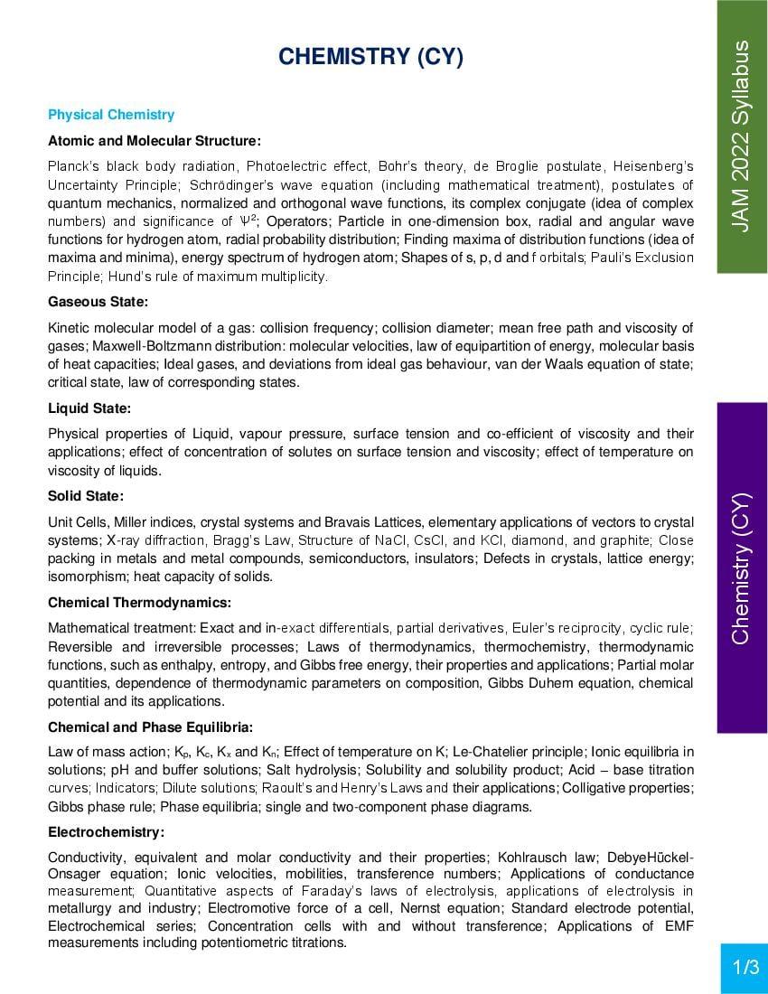 JAM 2022 Syllabus Chemistry (CY) - Page 1