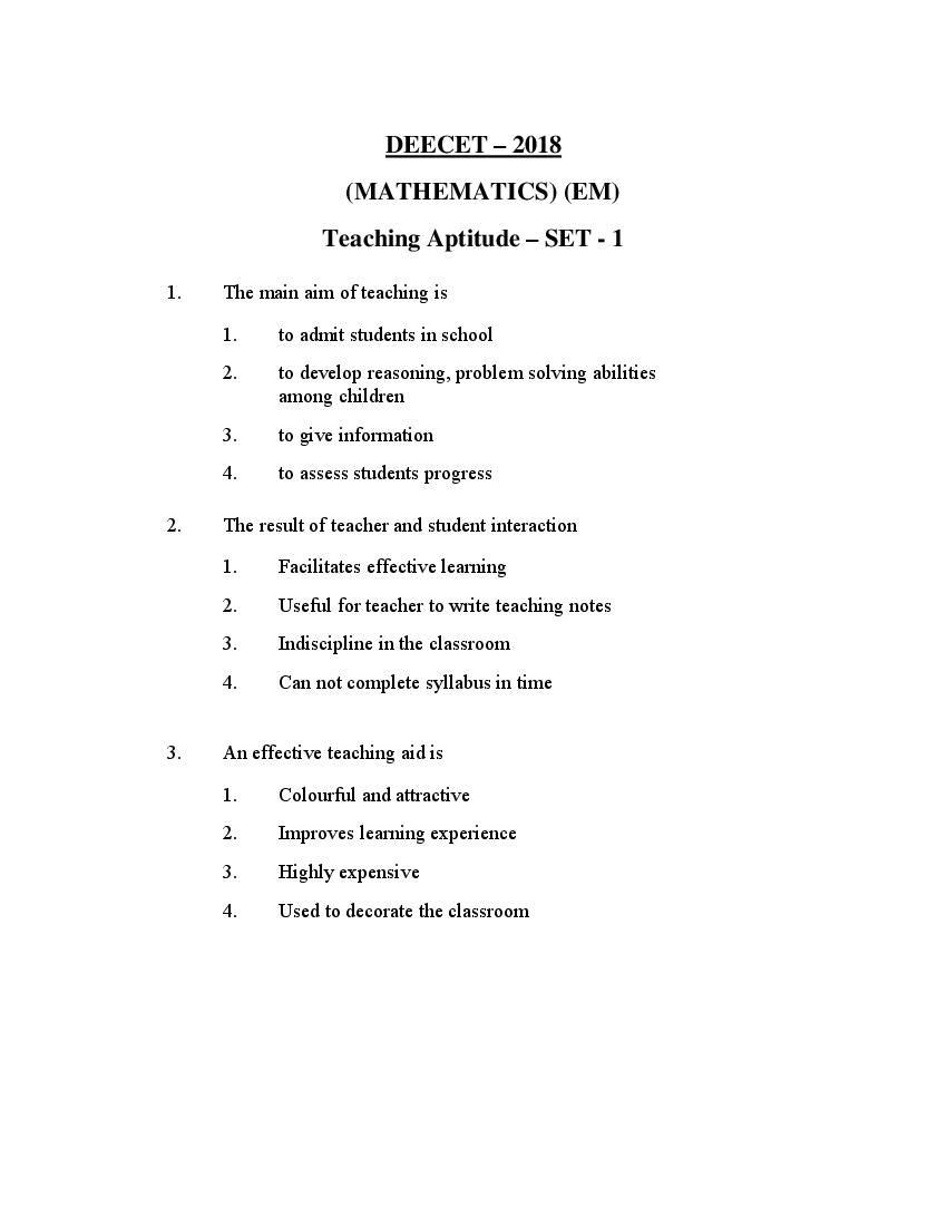 AP DEECET 2018 Question Paper Mathematics (English) - Page 1