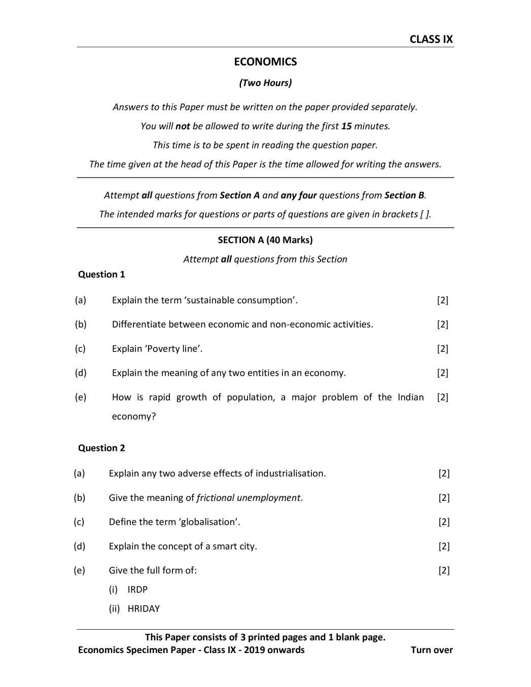 ICSE Class 9 Specimen Paper 2019 for Economics - Page 1