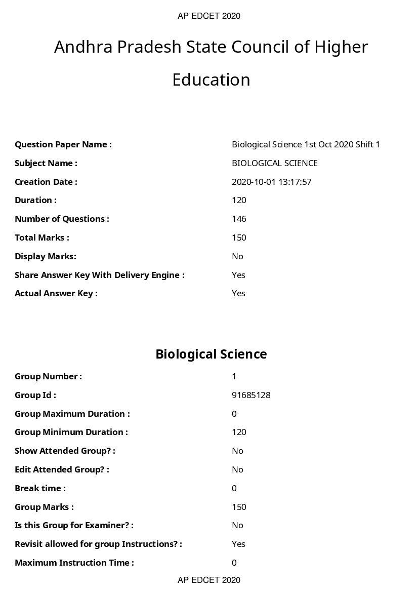 AP EDCET 2020 Question Paper for Biological Science - Page 1