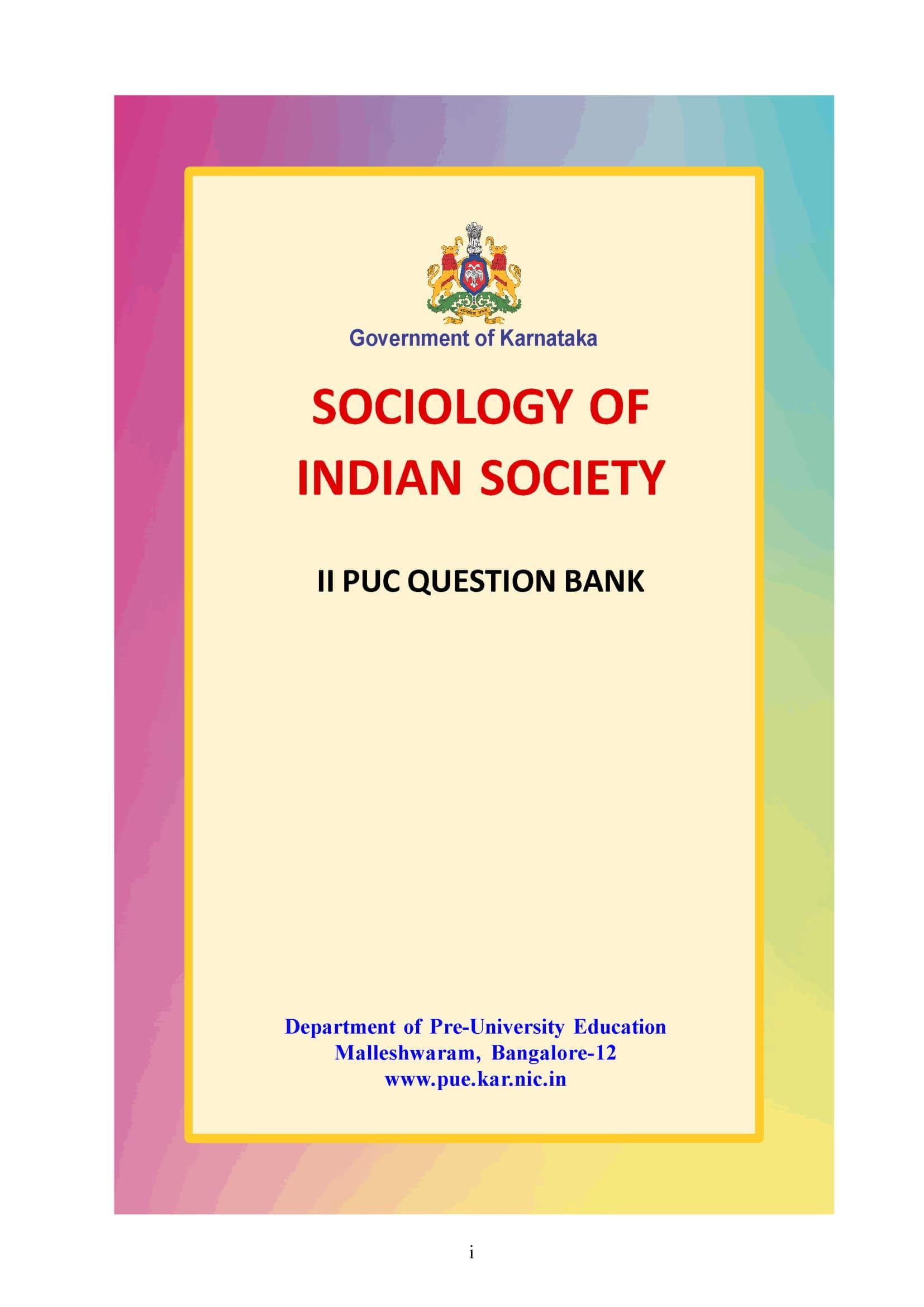 Karnataka 2nd PUC Question Bank for Sociology 2017-18 - Page 1