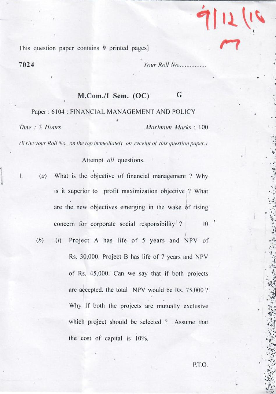 DU SOL M.Com Question Paper 1st Year 2017 Sem 1 Financial Management And Policy - Page 1