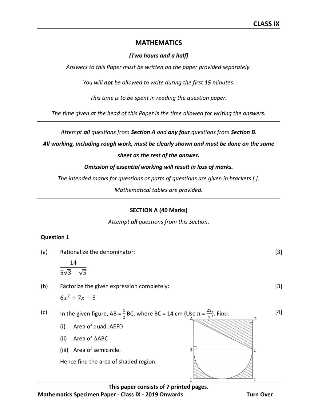 ICSE Class 9 Specimen Paper 2019 for Mathematics  - Page 1