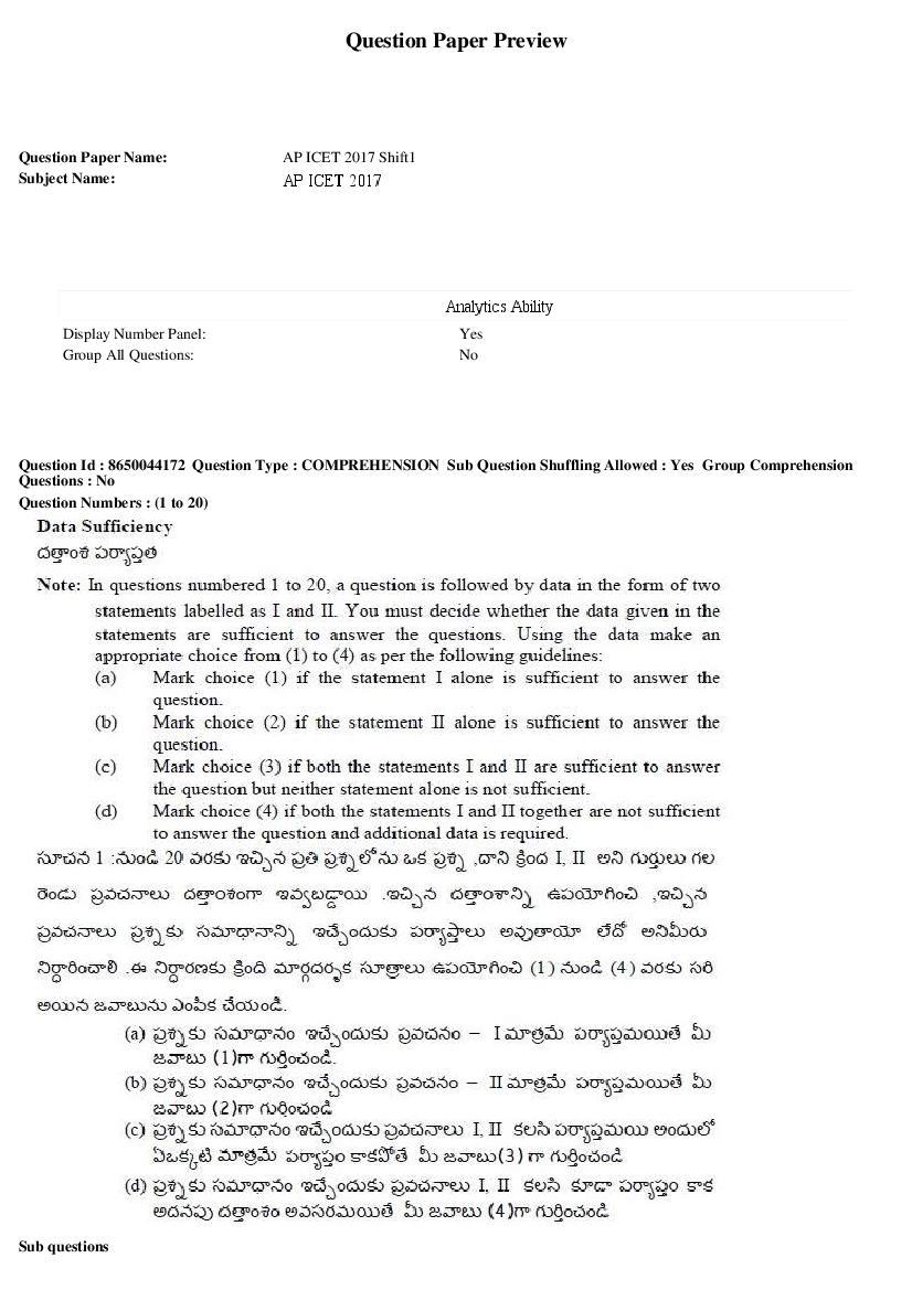 AP ICET 2017 Question Paper Shift 1 - Page 1