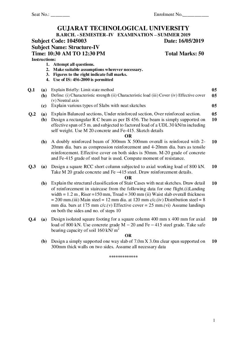 GTU BA Question Paper SEM IV Structure-IV Summer 2019 - Page 1