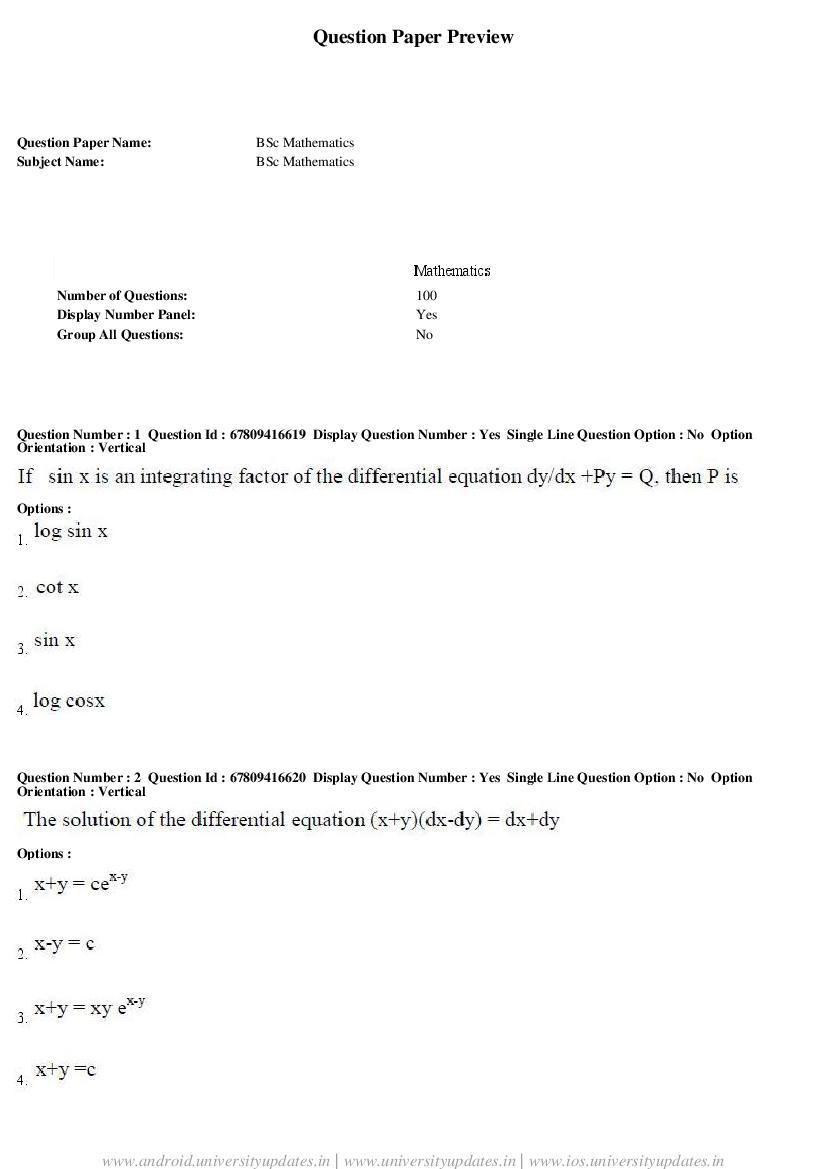 AP ECET 2018 Question Paper B.Sc Mathematics - Page 1