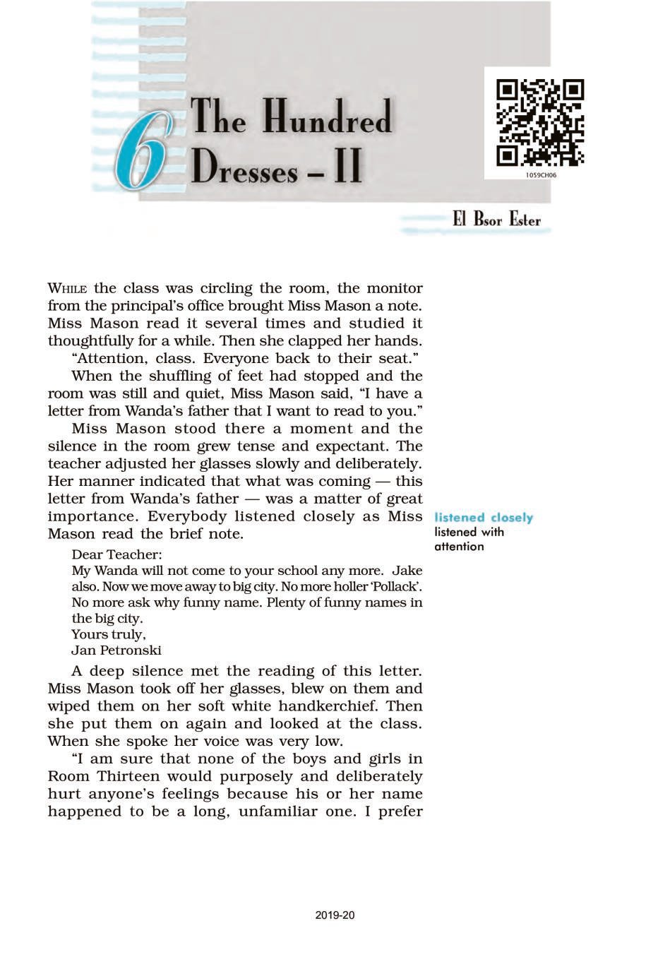 NCERT Book Class 10 English (First Flight) Chapter 6 The Hundred Dresses - II; Animals - Page 1