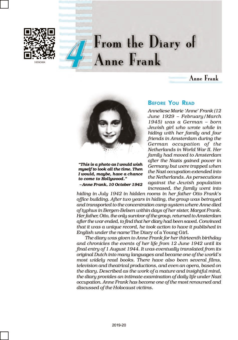 NCERT Book Class 10 English (First Flight) Chapter 4 From the Diary of Anne Frank; Amanda! - Page 1