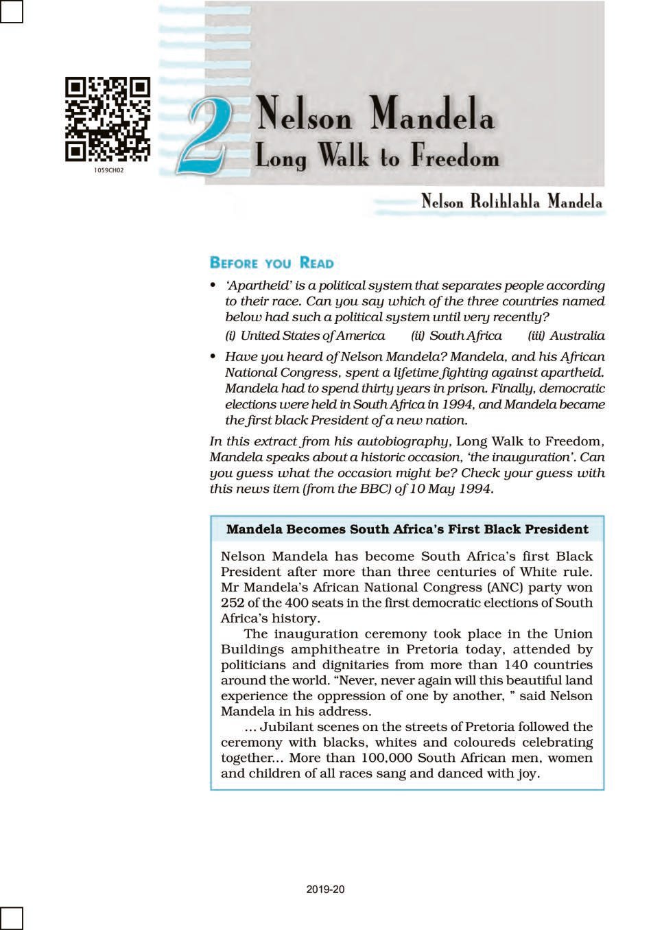 NCERT Book Class 10 English (First Flight) Chapter 2 Nelson Mandela Long Walk to Freedom; A Tiger in the Zoo - Page 1